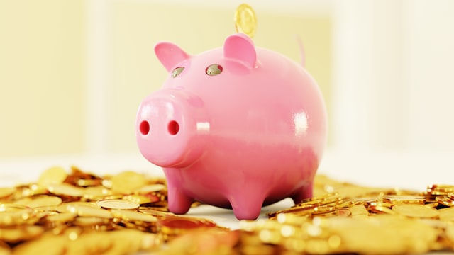 Piggy bank on top of coins. non-financial assets.