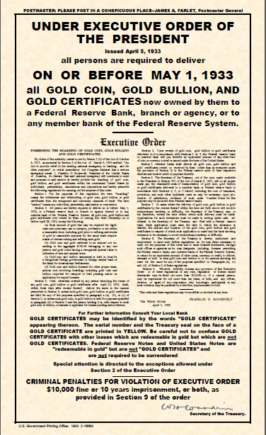 Gold confiscation requirement 1933 document