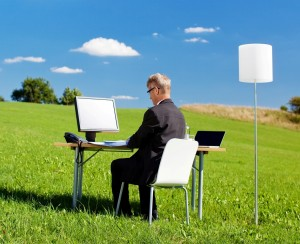 office in a meadow
